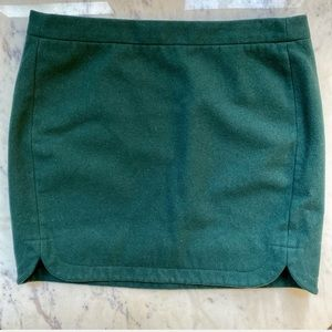 J Crew Dark/Forest Green Wool Mini Skirt